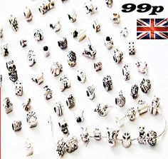 RKC Charms 5 to 50 PC Antique Silver Plated NICKEL + LEAD FREE Oxidized Metal Beads Charms Set Mix Lot - Compatible with Pandora Biagi Troll Chamilia Bracelets (30)