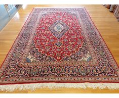 Red And Blue Oriental Rugs | This Is A Persian Kashan Rug With A Deep Blue