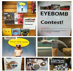 Googley Eyebomb Contest! Teens pickup Googley Eyes at the library, take photos at home w eyes on inanimate objects, and submit them. We Googley eyed some bookcovers for display to promote the contest!  - Memorial Hall Library in Andover,MA mhlteenroom.tumblr.com