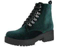 Emerald Green Velvet Vegan Harper Boot - A8963L | T.U.K. Shoes
