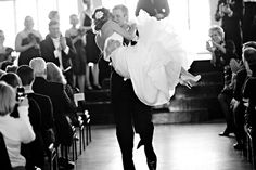 This happened to a friend of mine. He was so excited, instead of walking down the aisle, he carried her down the aisle after they were pronounced man and wife. I LOVE LOVE LOVE this picture.
