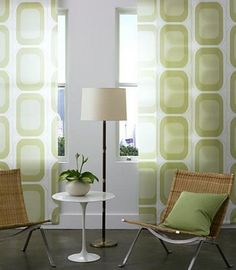 mid century modern window treatments - might do something similar in living room or den