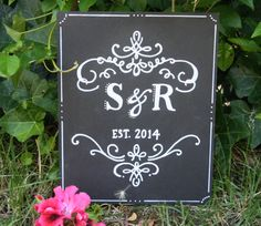 8 x 10 free gift. monogram wedding. guest sign in table. home welcome