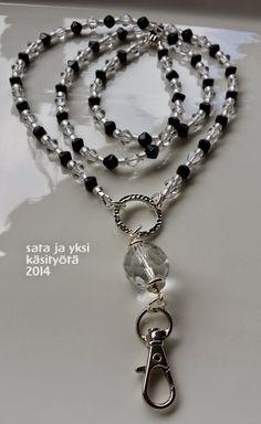 sata ja yksi käsityötä: avainnauha Badge Reel, Id Badge, Lanyard Necklace, Necklaces, Nail Polish Flowers, Beaded Lanyards, Key Fobs, Badge Holders, Jewerly