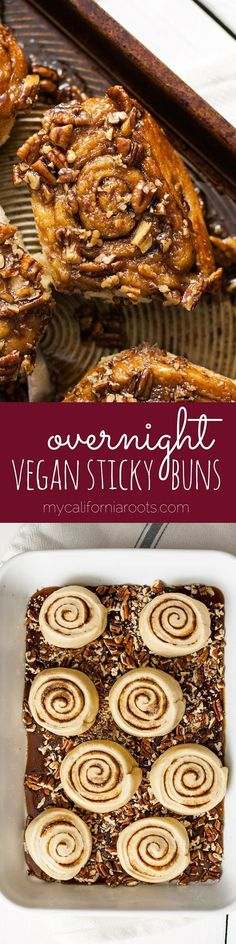 These easy vegan sticky buns can be made the night before, so your morning is stress free! Chock full of pecans and sticky, sugary goodness.