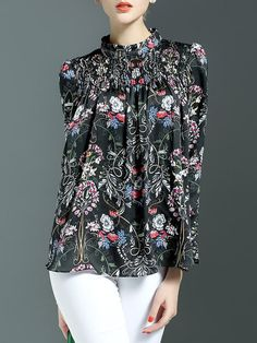 Shop Blouses - Floral Casual 3/4 Sleeve Blouse online. Discover unique designers fashion at StyleWe.com.
