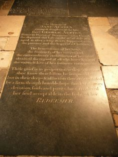 Jane Austen's Grave in Winchester Cathedral -- Winchester, Hampshire, England.