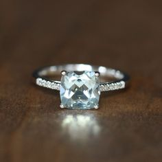 Diamond and Cushion Aquamarine Engagement Ring in 14k White Gold Solitaire Ring #Solitaire