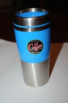 """Mickey's""""Really Sweet"""" Coffee Brand Thermos Insulated Stainless #Disney"""