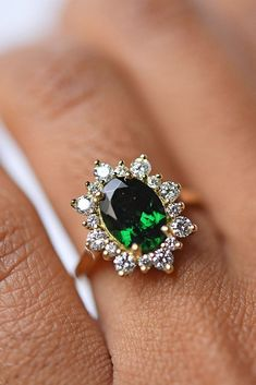 Green engagement ring
