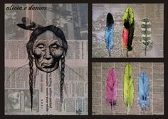 Three piece Native American set -- newspaper, ink, acrylic, and watercolor -- Alicia Stamm