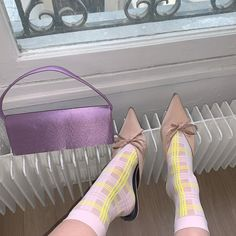 20 DENIER TARTAN SOCKS, SHEER LOOK. SOFT AND BROAD CUFF.    KNITTED FROM RECYCLED NYLON. 57% RECYCLED POLYAMIDE, 38% POLYPROPYLENE, 5% RECYCLED ELASTANE. ONE SIZE Maternity Tights, Pink Socks, Patterned Tights, Fashion Tights, Cute Socks, Knee High Socks, Houndstooth, Pretty In Pink, Tartan