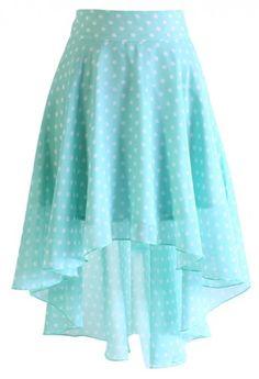 Mint Polka Dots Waterfall Skirt