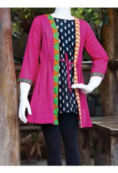 Shocking pink front open double shirt with black tights for little girls eid dress latest kids eid dresses for little girls in Pakistan 2017