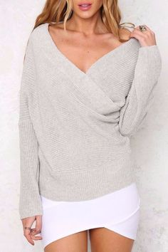 4f093e6117a Off Shoulder Baggy Knitted Sweater. Thick SweatersSweaters For WomenBatwing  ...