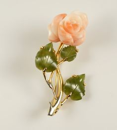 """Vintage Carved Coral and Jade Leaves Floral Rose Gold Tone Pin Brooch #CarvedCoral #Rose #CoralRose Pinterest exclusive #discount    Use #coupon code """"PIN20"""" at checkout to receive 20% off your total purchase at #cherryorchardattic (https://www.etsy.com/shop/cherryorchardattic) on #Etsy"""