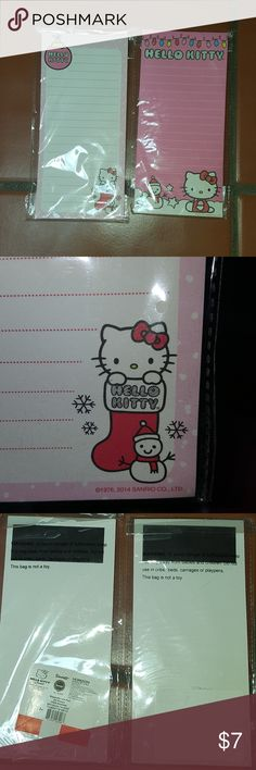 Hello Kitty Christmas Shopping Lists Very cute Hello Kitty Christmas shopping list magnet note pads. Pair of two, I tried to remove one of the stickers as you can see. Hello Kitty Other