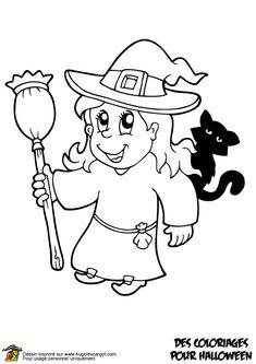 Coloriage de la gentille sorcière avec son chat noir