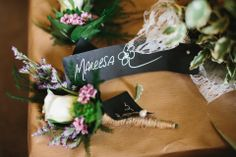 Elizabeth Stuart Elegance for a Clean, White Contemporary Wedding with a Hint of Woodland Flowers
