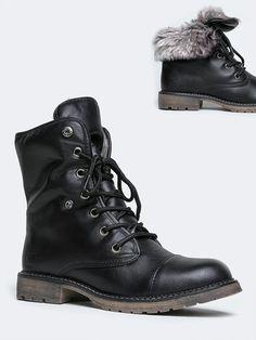Black Brown Two Tone Cuffed Lace Up Boots Faux Leather Wa4TfNiq