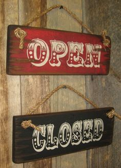 Rustc Open Closed Signs Set Made of Pine for Store or Office