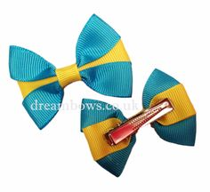Turquoise and yellow grosgrain ribbon hair bows on alligator clips/slides from www.dreambows.co.uk £2.50 a pair #hairbows #yellowhairbows #turquoiseandyellowbows #girlybows #smallbows #childrensbows #kidsstyle #craftedbows