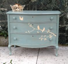 Beautiful Solid Wood Hand Painted Dresser with Birds, Cottage, Shabby Chic Inspired via Etsy