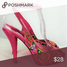 Betsey Johnson Satin Embroidered Slingback Pumps Betsey Johnson Pink Satin Embroidered Slingback Peep Toe Pumps Ankle Wrap Buckle, Slim Wrapped Heel and Floral Embroidery at Peep Toe Vamp and Concealed Platform Sole  - Very Good to Good Condition - Rarely Worn - Minor Wear to Sole & Heel, Upper In Good Condition with Minor Dust Marks, Light Scuffing To Backs of Heel & at Platform Toe - Nothing too Noticeable, Left Shoe has a Footbed Insert- Over all these adorable shoes in Good Condition…