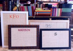 monogrammed bulletin board...  I think that this would be pretty easy to DIY!