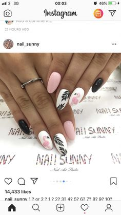 Trending nails designs for summer 2019 Summer Acrylic Nails, Best Acrylic Nails, Pastel Nails, Acrylic Nail Designs, Summer Nails, Classy Nails, Stylish Nails, Trendy Nails, Flamingo Nails