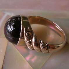 14K Gold and Garnet Antique Victorian Ring from steig on Ruby Lane
