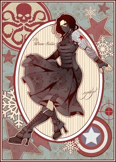 "Artist: ""I spent waaaay too long on this… My friend told me she wanted a Bucky, but for some reason I was in the mood for dresses. And I love military-inspired fashion, so….Have a fem!Bucky with excessive use of Hydra print patterns. Marvel Art, Marvel Avengers, Marvel Comics, Winter Soldier Cosplay, Character Art, Character Design, Marvel Cosplay, Bucky Barnes, Marvel Cinematic Universe"