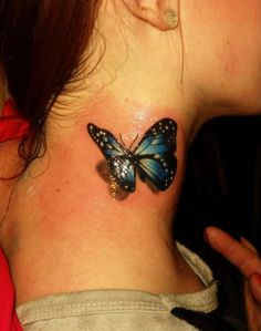 3d crow of neck butterfly tattoos