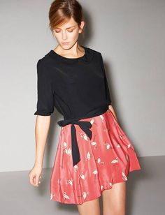 Aww, this is really cute! -- Snadro flamingo dress with peter pan collar