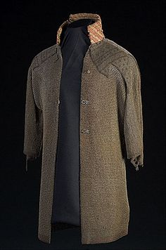 chainmail shirt with a padded collar and fastenings to open in the front