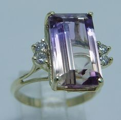 Estate Jewelry 16x10mm 6.36ct Ametrine Diamonds 14K Yellow Gold Ring