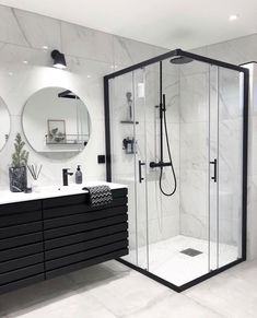 Bathroom Goals by @boogreis #bathroomgoals #bathroom #bathroomdesign #bathroominspo #blackandwhite Bathroom Inspo, Basement Bathroom, Modern Bathroom, Bathroom Inspiration, Small Bathroom, Master Bathroom, Gypsy Home Decor, Bathroom Interior Design, Dream Bathrooms