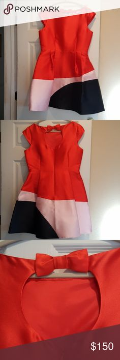 KATE SPADE colorblock cocktail dress sz.12 A fire red..navy..and dusty pink make hip this colorblock stunner.  Pair with a cute bow belt to make it pop! Size is 10..measurements in pix..waist about 17..bust about 19..shoulder to hem 36. Natural waist to hem 20.  Lined in dusty pink. Worn once for photo shoot. kate spade Dresses