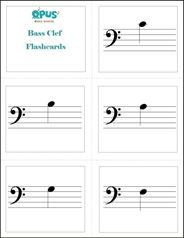 Free printable:  Bass Clef Note Name Music Flashcards