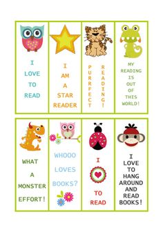 Free Printable Bookmarks - Print some out on card stock and keep them in a basket in your class library for student to take as needed
