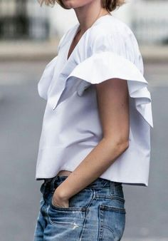 Blouse | White | Ruffles | Denim | Streetstyle | More on Fashionchick.nl