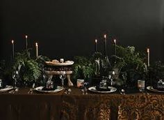 dark moody table setting - Google Search
