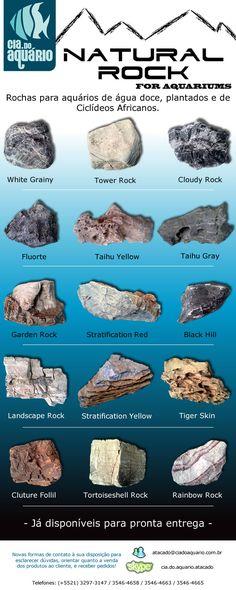 Natural Rock - rochas naturais para aquários de água doce diversos como comunitários, plantados e de ciclídeo africanos. Lindos padrões.