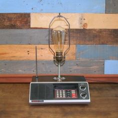 Vintage police scanner upcycled to a lamp.... Check.