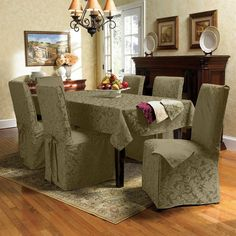 Dining Room Square Wooden Table With Four Legs Cream Chair Slipcovers Classic