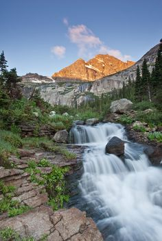 Located near Black Lake in Rocky Mountain National Park. Taken after a 4 mile walk through Glacier Gorge under a new moon. Beautiful Waterfalls, Rocky Mountain National Park, Rocky Mountains, Beautiful World, Colorado, National Parks, Scenery, Places To Visit, Ribbon