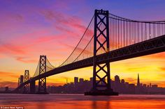 A gorgeous sunset of the golden gate bridge, San Francisco reveals a beautiful side to the...