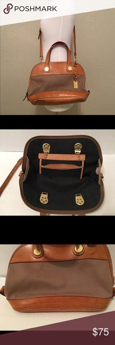 Dooney & Bourke Large Satchel Handbag Purse Beautiful tan color! Classic style. Great for work or on the go! Has a worn in look. Some light scuffing/scratches and a few spots of staining. Does not effect the integrity of Purse and does not deter from its gorgeous look! Adjustable strap. Dooney & Bourke Bags Satchels