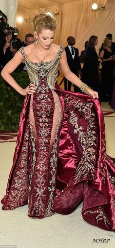 Blake Lively chose a gold and burgundy gown, complete with a crown