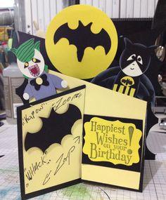 Boys or mens superhero squares logo birthday card iron man batman and the joker birthday cascade card bookmarktalkfo Choice Image